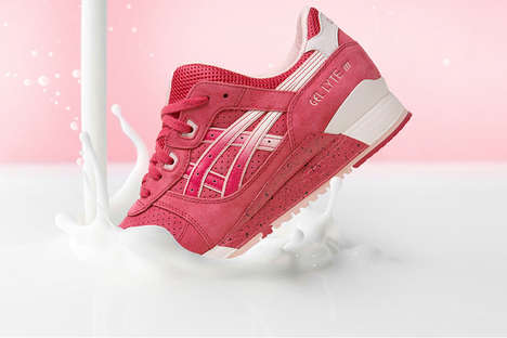Romantic Dessert Sneakers - The ASICS GEL-Ltye III Valentine's Day Shoes Look Like Strawberries