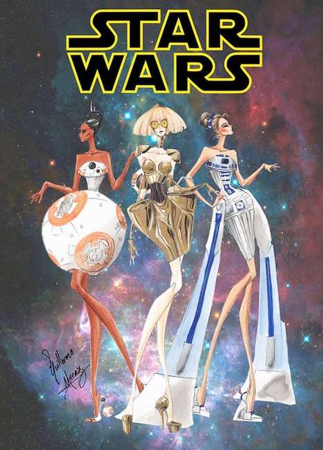 Galactic Couture Illustrations - Artist Guillermo Meraz Imagines Star Wars Costumes as High Fashion