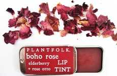 Botanical Lip Tints - Plantfolk Apothecary's Rose and Elderflower Lip Balm is 100% Organic