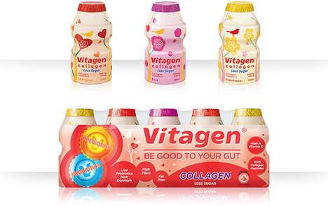 Skin-Firming Probiotic Drinks - The Vitagen Collagen Supplement Drink Offers Many Health Benefits