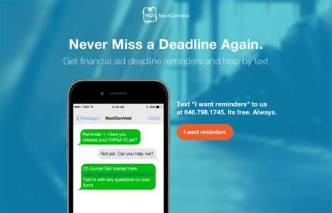 Monetary Advice Texting Platforms - NextGenVest's Financial Aid Service Helps Students Navigate Debt