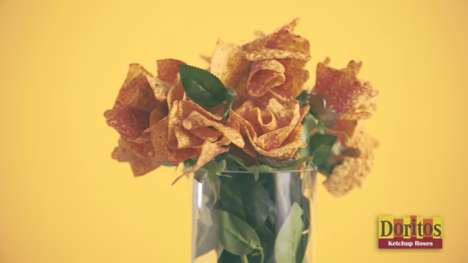 Ketchup Chip Bouquets - The Doritos Ketchup Roses Serve as a Tasty Alternative to Flowers