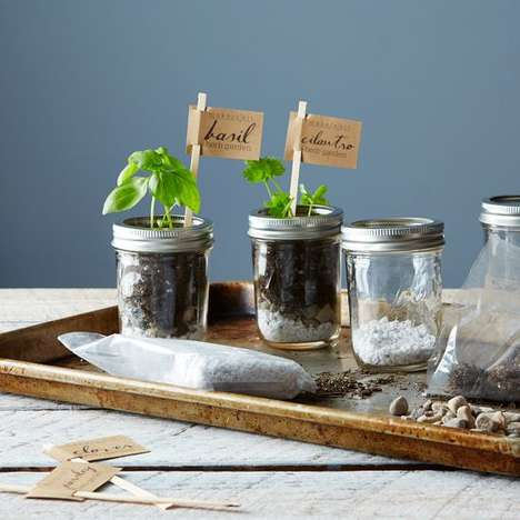 Mason Jar Gardening Kits - The DIY Mason Jar Herb Garden Kit is Perfect for Amateur Chefs