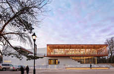 Cedar-Wrapped Theaters - This Chicago Theater is Wrapped in Glass and Wooden Battens