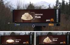Whipped Cream Weather Billboards - This Weather Ad Shows Snowfall Using Whipped Cream-Topped Drinks