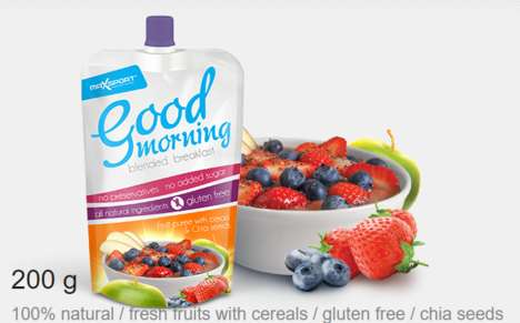 Blended Breakfast Pouches - The 'Good Morning' Breakfast Drinks Come Portable Formats
