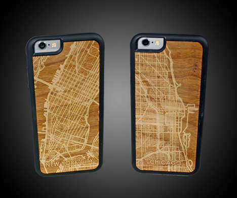 Etched City Smartphone Cases - CutMaps iPhone Protectors Feature Cityscape Carvings on the Rear