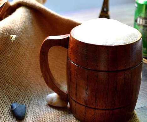 Taste-Enhancing Beer Mugs - The FistCase Wooden Beer Mug Enhances the Taste of Brews