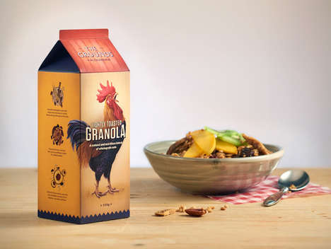 Homespun Granola Packaging - This Example of Granola Branding Features Farmyard Illustrations