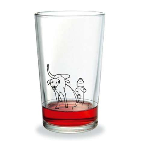Controversial Drinking Glasses - Yes, That IS a Dog Peeing On The Side of Your GLass