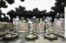 Hexagonal Grocery Merchandising - The FANTASTIKO21 Supermarket Offers a Modern Shopping Experience