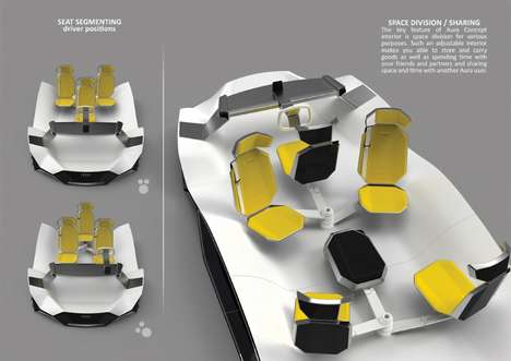 Communal Seating Vehicles - The Audi 'Aura' is a Modern Vehicle that Encourages Socialization