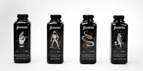 Ominous Juice Packaging - These Alluring Black Bottled Health Juices Represent the Zumería Juice Bar