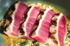 Seared Tuna Couscous Dishes - This Grilled Bigeye Tuna with Israeli Couscous Ragù is a Light Option