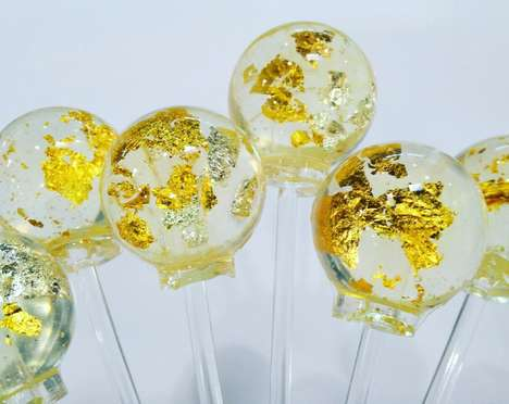 Gilded Champagne Lollipops - The Lick of Luxury Candies Feature Specks of Edible 24-Karate Gold