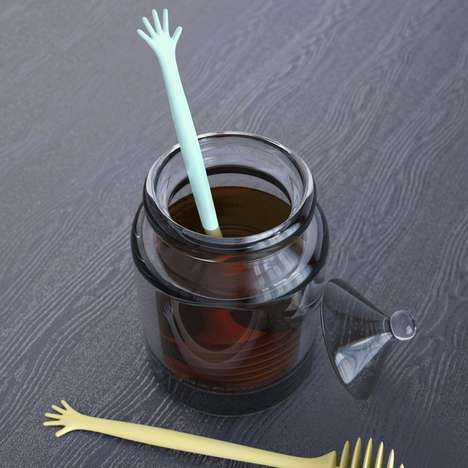 Anatomical Condiment Stirrers - The Help! Honey Dipper is Designed to Look Like a Drowning Hand