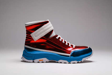 Patriotic High-Top Sneakers - KKtP Sneakers Introduces a Metallic Red, White and Blue Shoe