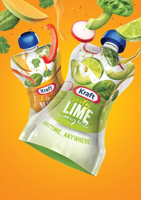 Salad Dressing Pouch Packaging - The New Package Design for Kraft Dressings is Highly Portable