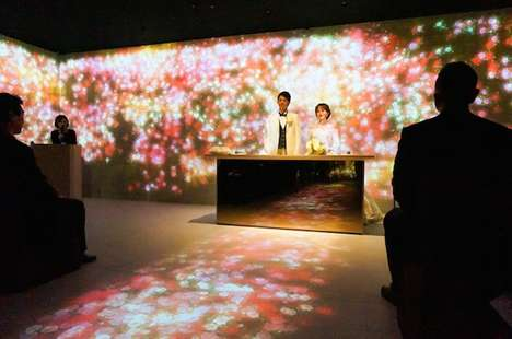 Projected Wedding Installations - teamLab's Modern Wedding Ceremony Brings Nature Indoors Digitally