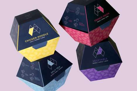 Geometrical Boxed Soups - This Student Project Imagines Soups Contained in Recycled Paper Boxes