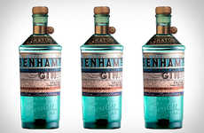 Turquoise-Tinted Gin Bottles - Benham's Dry Gin Boasts Striking Packaging and Citrus Undertones