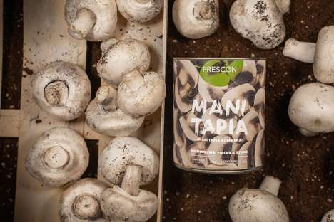 Canned Produce Packaging - This Canned Mushrooms Packaging Keeps the Product Fresh