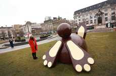 Chcolate Bunny Statue Activations - Dr Oetker Placed a Seven-Foot-Tall Edible Installation in London
