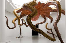 Gargantuan Marine Ceiling Sculptures - Huang Yong Ping's Works Comment on Human Effects on the Sea