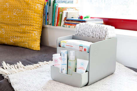 Portable Diaper Caddies - The Diaper Caddy Serves as a Handy Storage Space for Diaper Changing Items