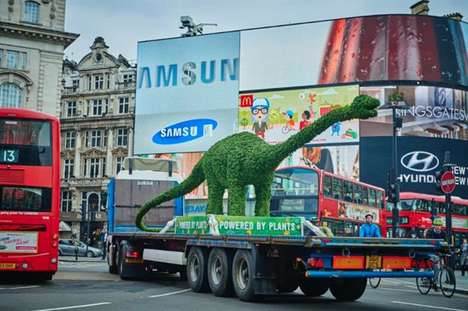 Giant Topiary Dinosaur Stunts