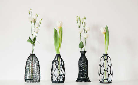 Eco Printed Plant Holders - These Plastic Bottle Vases Require the Reusing of Empty Containers