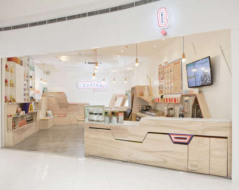 Geometric Tea Shop Interiors - The Sweetea's Storefront Boasts Pop-Out Seats and Tables