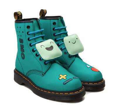 Cartoon Combat Boots - These Dr. Martens BMO Boots are Decorated as Adventure Time Character
