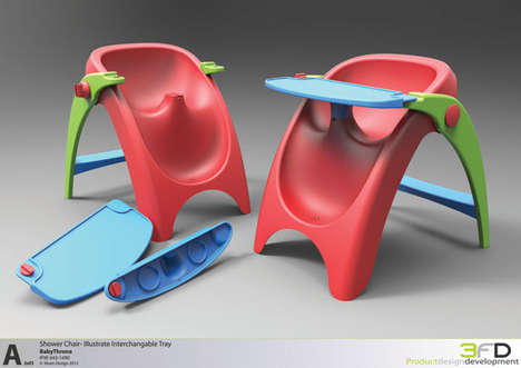 Secure Baby Shower Chairs - The 3form Design Baby Shower Chair is for Homes Without Tubs