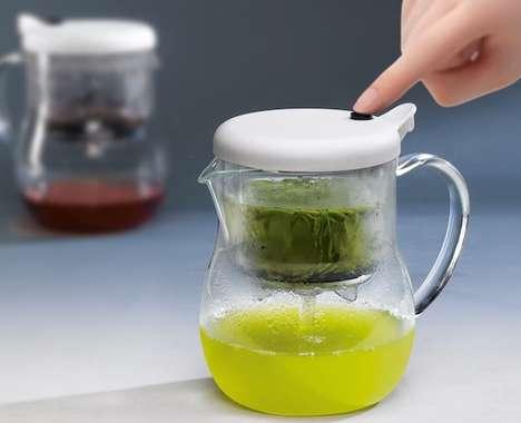 Tea Leaf-Straining Teapots