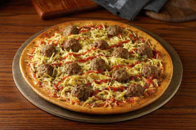 Pasta-Topped Pizzas - The New Spaghetti & Meatball Pizza Combines Two Beloved Comfort Foods