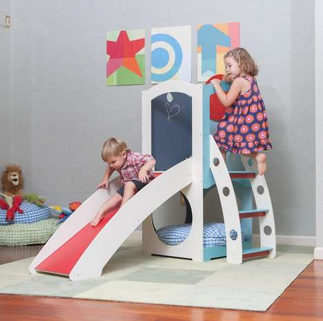 Indoor Playground Toys - 'Solo' is a Small-Scale Indoor Playhouse with a Slide, Ladder & Chalkboard