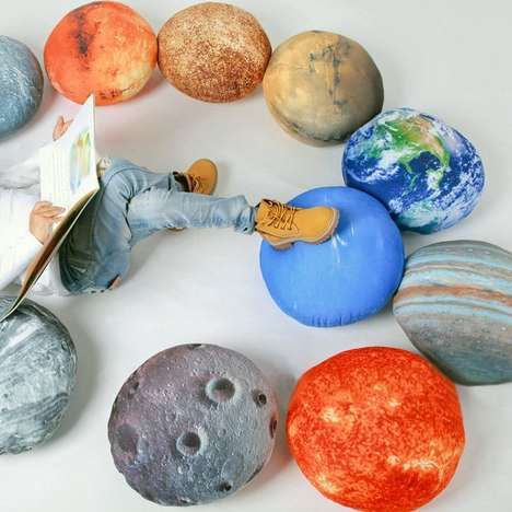 Solar System Pillow Sets - These Round Lounge Cushions Come Together to Form the Different Planets
