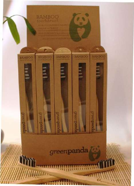 Biodegradable Toothbrush Packaging - The GreenPanda Bamboo Toothbrush Comes in a Plant-Based Package