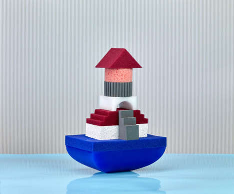 Architectural Bathtub Toys - WATERSCAPE Lets Kids Build Floating Cities in the Tub