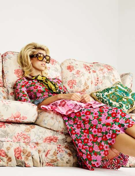 Patterned Retro Fashion - Elle UK's 'Space To Grow' Editorial Features Floral Fabric Prints
