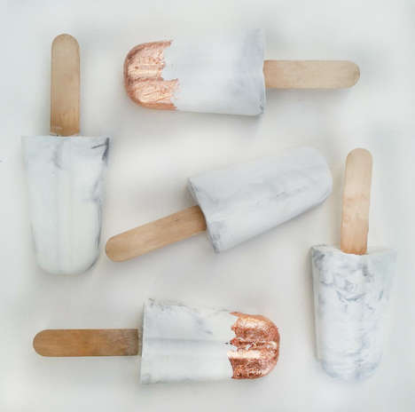 Decorative Concrete Popsicles - These Ice Pop Accessories Feature a Marble and Gold Leaf Aesthetic