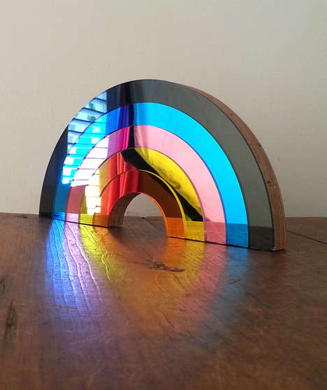 Chromatic Mirror Decor - Bride & Wolfe's Rainbow Mirrors Feature Panels in Varying Hues