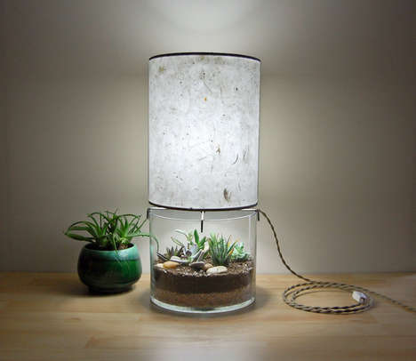 Transparent Terrarium Lamps - These Table Lights by SHare Studios Creatively Grow Plants at the Base