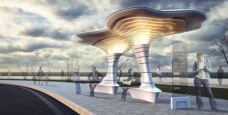 Sculptural Connected Bus Stops