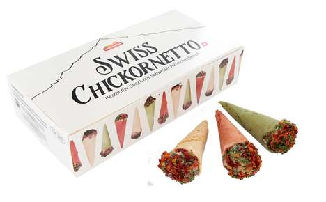 Savory Chicken Cones - 'Swiss Chickornetto' Snacks are Dressed Up Like Ice Cream Treats