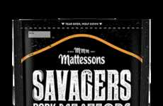 Scrumptious Seasoned Pork Snacks - The Mattessons 'Savagers Pork Meateors' Packs Pork Meat Protein