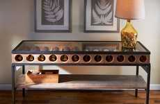 Wine Display Furniture - This Wine Bottle Display Console Table Offers Space to Hold 12 Bottles