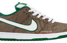 Wooden Grain Sneakers - The Nike SB Dunk Low Woodgrain Sport Shoes Feature a Woodland Aesthetic