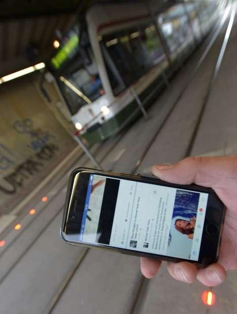 Smartphone User Sidewalk Lights